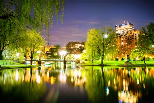 The Boston Public Garden at night.