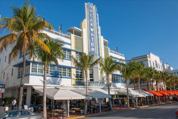Hotel Breakwater, one of many Art Deco hotels located on Ocean Drive in South Beach. Photographer: Bruno Fontino