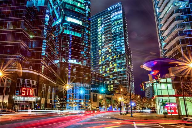 Evening streetscape on Peachtree Street in Midtown at 12th St