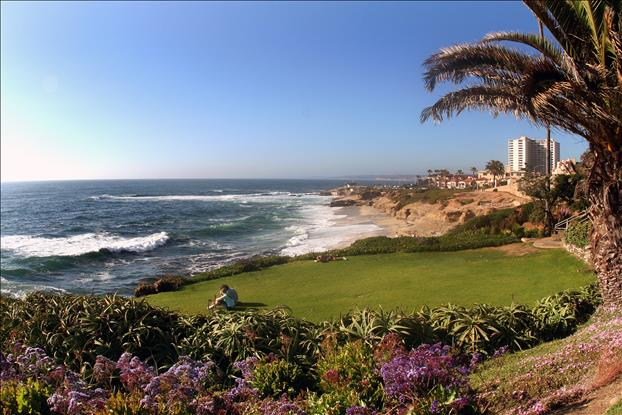 La Jolla Couple on Lawn Over Coves