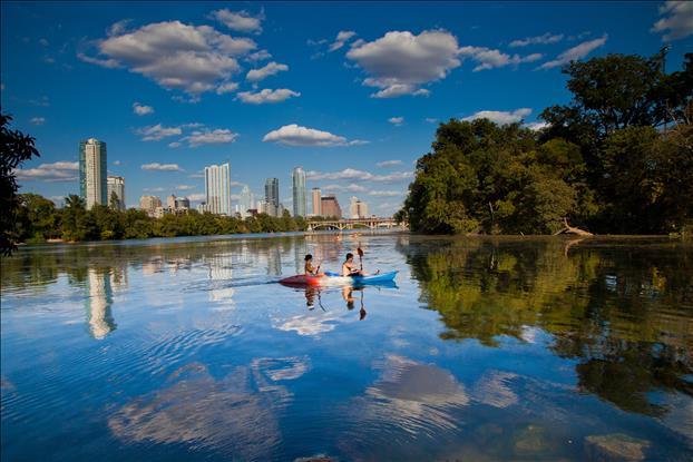 Austin Skyline with kayaker