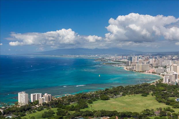 View of Waikiki and Honolulu from atop Leahi