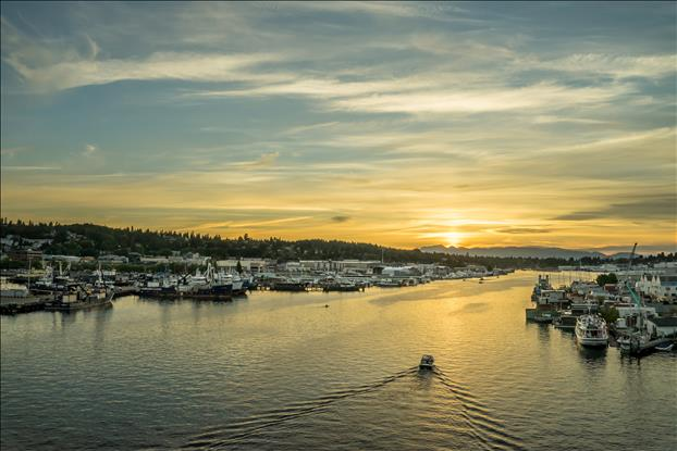 A beautiful Pacific Northwest sunset over the marinas of Fisherman's Terminal.